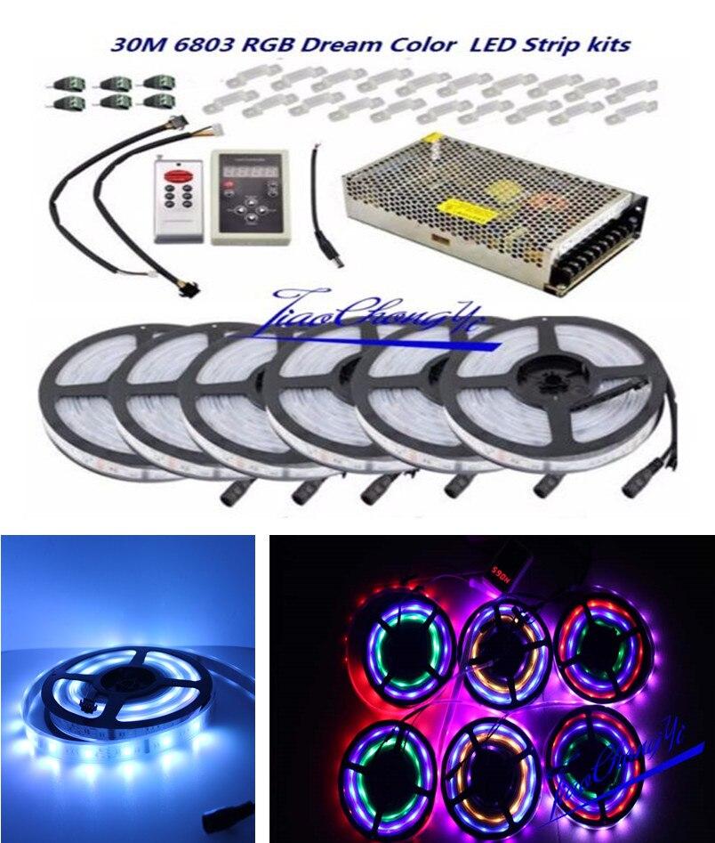 30 M 5050 RGB Dream couleur 6803 LED bande blanche PCB IP67 étanche + 6803 RF télécommande + adaptateur secteur