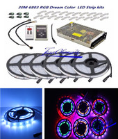 30M 5050 RGB Dream Color 6803 LED Strip white PCB IP67 Waterproof + 6803 RF Remote Controll +Power adapter
