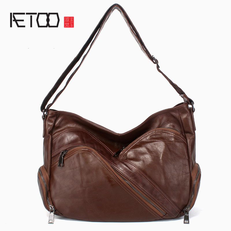 AETOO Casual big bag oblique shoulder female bag first layer of leather multi-pocket leather ladies bag wideband oblique shoulde qiaobao 2018 new korean version of the first layer of women s leather packet messenger bag female shoulder diagonal cross bag