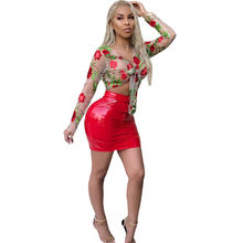 8c2e3e763f3b Fashion Red PU Leather Mini Skirt + Sexy Perspective Mesh Shirt Women's  Party Nightclub Two 2 Piece Set Outfit