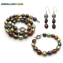 selling well Amazing necklace earring bracelet set small baroque pearls simple freshwater pearl Peacock blue brown coffee yellow недорого