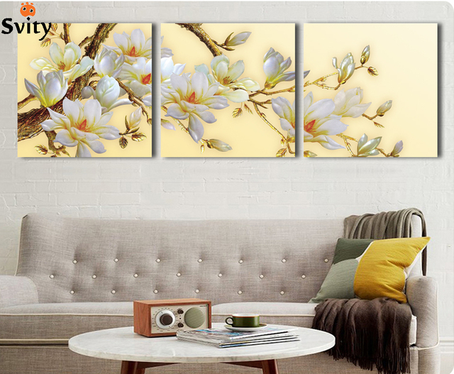 3 Panel Modern 3d White Orchid Flower Painting On Canvas