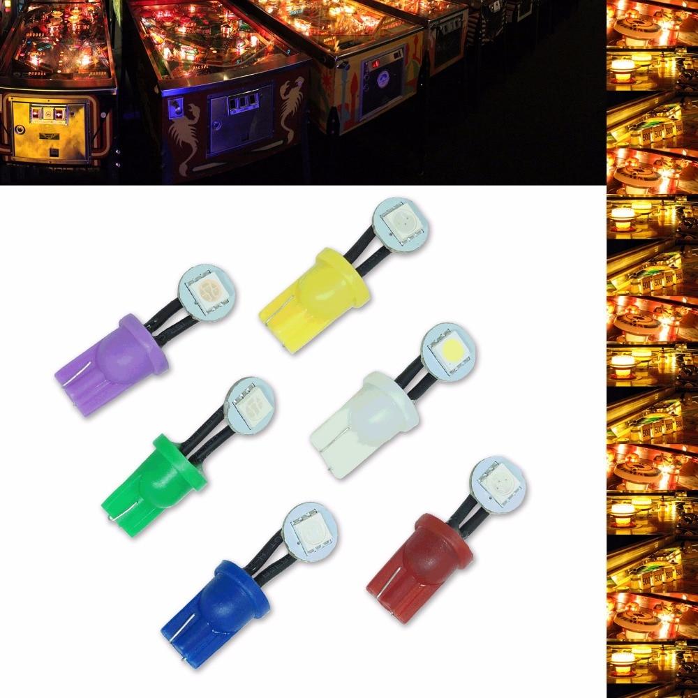 ПА вел 50шт х сбоку Клин свет T10 лампы светодиодные пинбол #555 5050 1SMD Клин 6,3 в различные цвета
