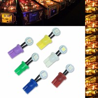 PA LED 50PCS x Side View Bulb LED Wedge Pinball Machine Light T10 #555 Wedge 1SMD 5050 6.3V Various Color