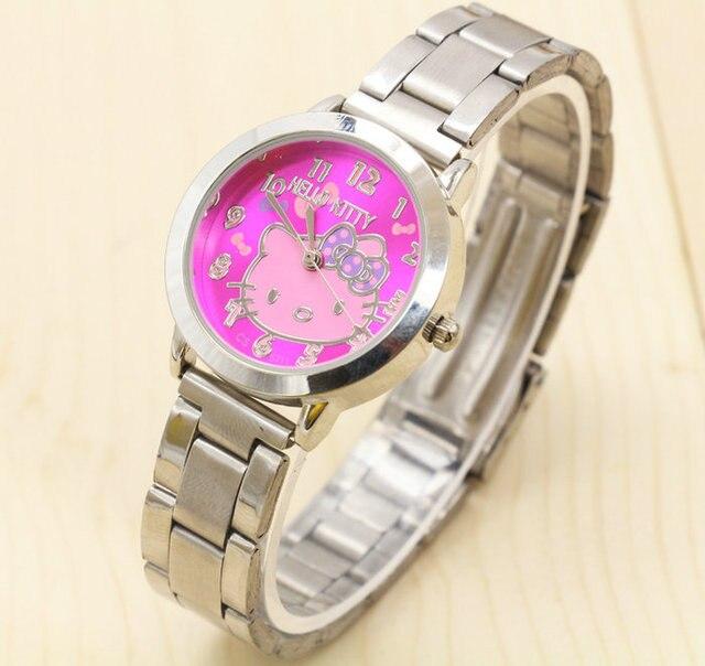 Quartz Hello Kitty Watch Women Luxury Fashion Lady Girl Silver Stainless Steel B