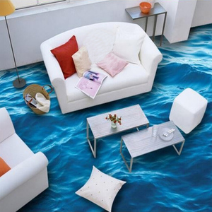Image 3 - Custom Boden Tapete 3D Stereoskopischen Ozean Wellen Wandbild Wohnzimmer Bad PVC Selbst adhesive Wasserdichte Boden Tapete Rolle