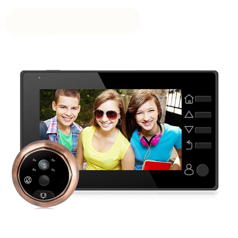 4.3 pouces Vision nocturne LCD couleur numérique porte visionneuse interphone vocal enregistrable judas sonnette caméra de sécurité à domicile