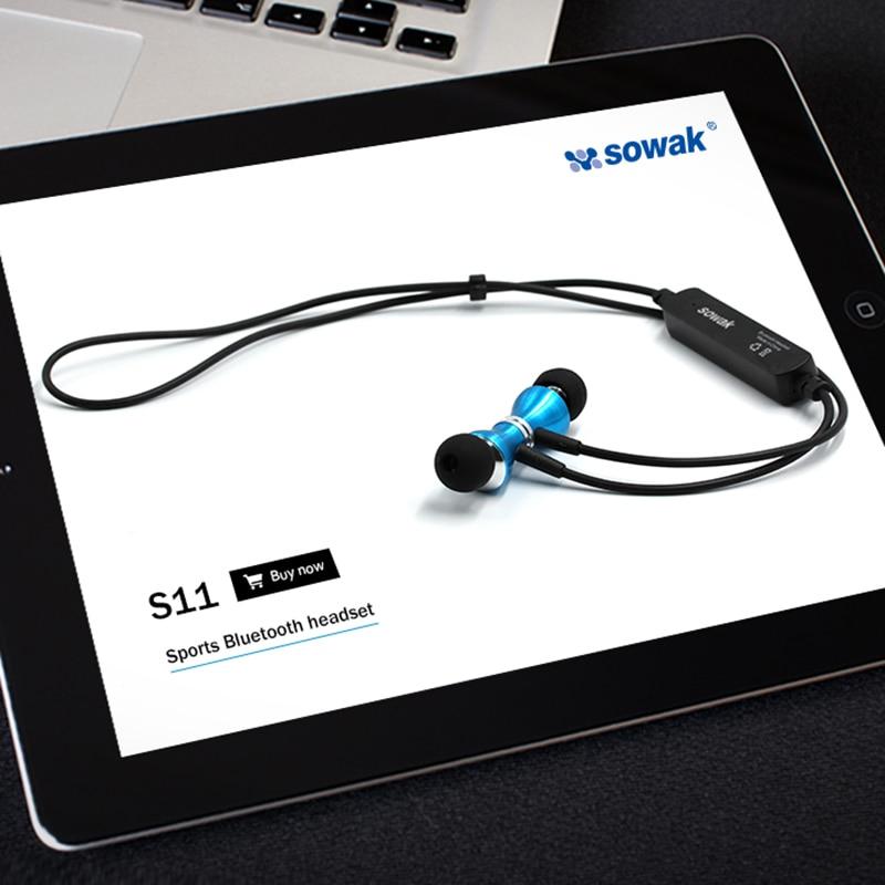 Sowak Earphones Stereo Headset NEW Bluetooth V4.1 Headphones Wireless Sports Earphones IPX-4 Sweatproof Earphone for Iphone 6 7