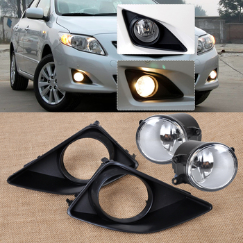 DWCX 4pcs Black Front Right/Left Fog Light Lamp + Grille Cover Bezel Fit for Toyota Corolla 2007 2008 2009 2010 Fast Shipping dwcx 11 3x8 cm black plastic front right bumper tow hook eye cap cover fit for toyota rav4 eu 2016 2017 2018