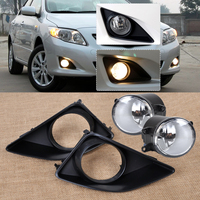 DWCX New 4pcs Black Front Right/Left Fog Light Lamp + Grille Cover Bezel for Toyota Corolla 2007 2008 2009 2010 Fast Shipping