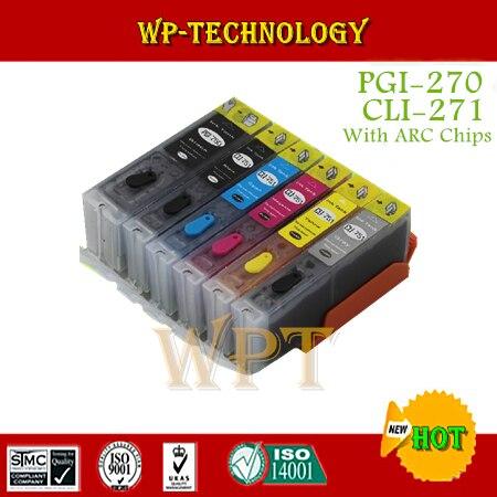 Combinaison de cartouche rechargeable à encre complète 6PK pour PGI270 CLI271, combinaison pour MG5720 MG5721 MG5722 MG6820 MG6821 MG6822 MG7720, avec ARC