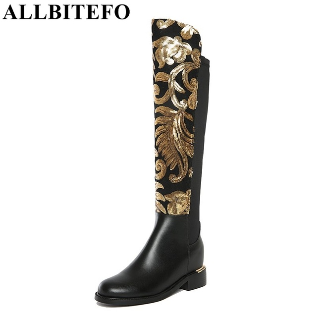 ALLBITEFO Fashion Printing Genuine Leather + Stretch Fabric Low Heeled Boots