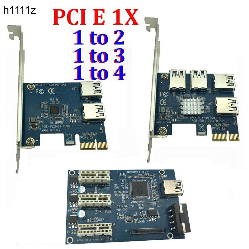 PCI e 1 para 3/4/2 1X slots PCI express Riser Cartão Mini ITX para 3 externo adaptador de slot PCI-E PCIe Multiplicador de Porta Cartão VER005