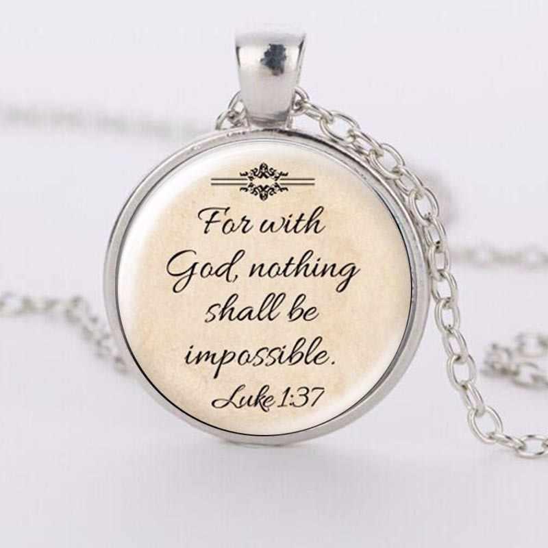 2018 עיצוב החדש 'Faith עם אלוהים שום דבר לא מילות Impossible' שרשרת ישו הנוצרי תכשיטי ציטוט זכוכית תליון שרשראות