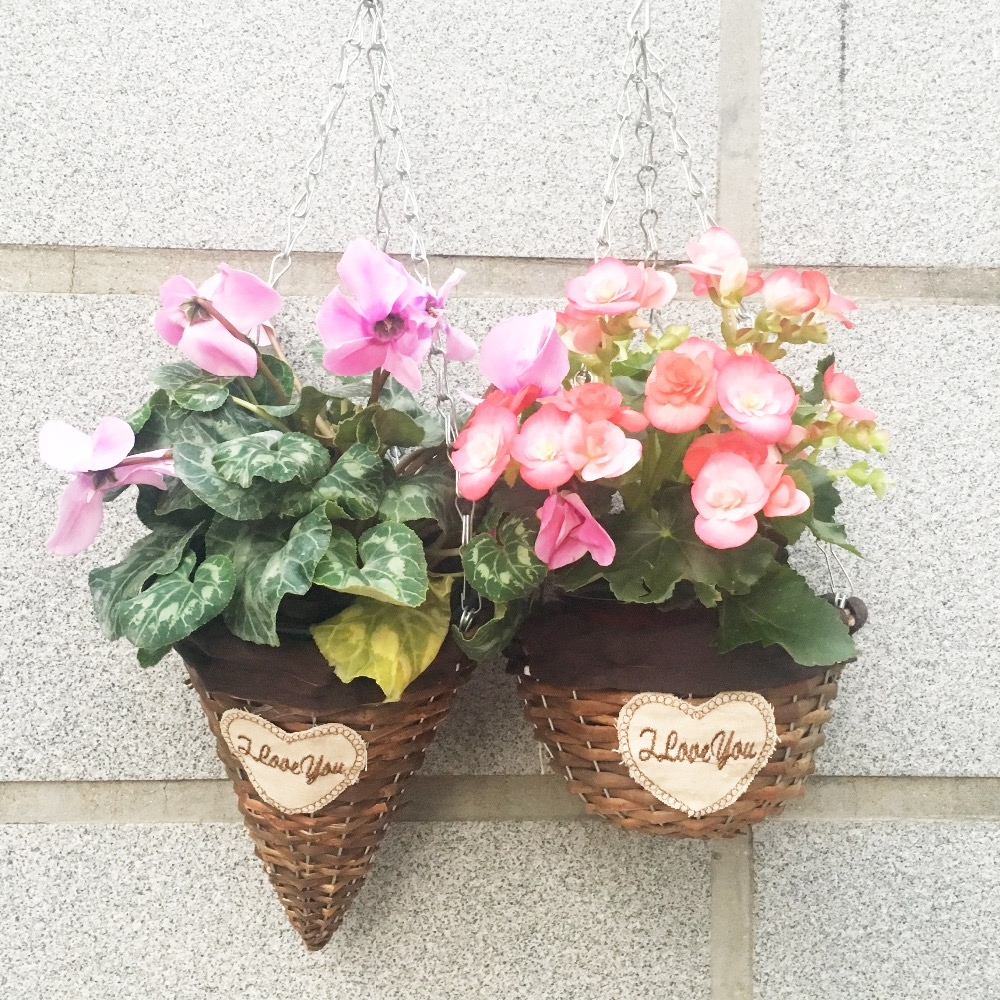 Brown Hanging Basket Half Round Waterproof Wicker Flower Plant Bucket Garden Planting Nursery Pots Home decorative Accessory