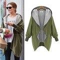 2016 Spring Autumn Fashion Women Warm  Casual Solid Hooded Zipper Cardigan Hoodies Coat Plus Size  B162