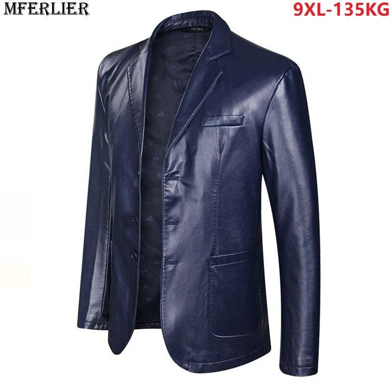Plus Size 7XL 8XL 9XL PU Men Jackets Faux Leather Large Size Big Autumn Winter Suit Jackets Casual Formal Business Office Coat