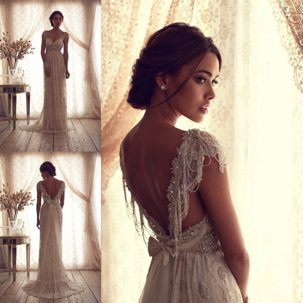 Anna Campbell Wedding Dresses Ivory Lace Sexy V Backless Bridal