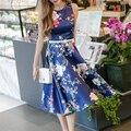 2016 FashionElegance Verano Casual Vintage Floral Print Satén Sin Mangas Atractivo de la Señora Vestidos Del Tanque Del O-cuello Longitud de La Rodilla Vestido de Las Mujeres
