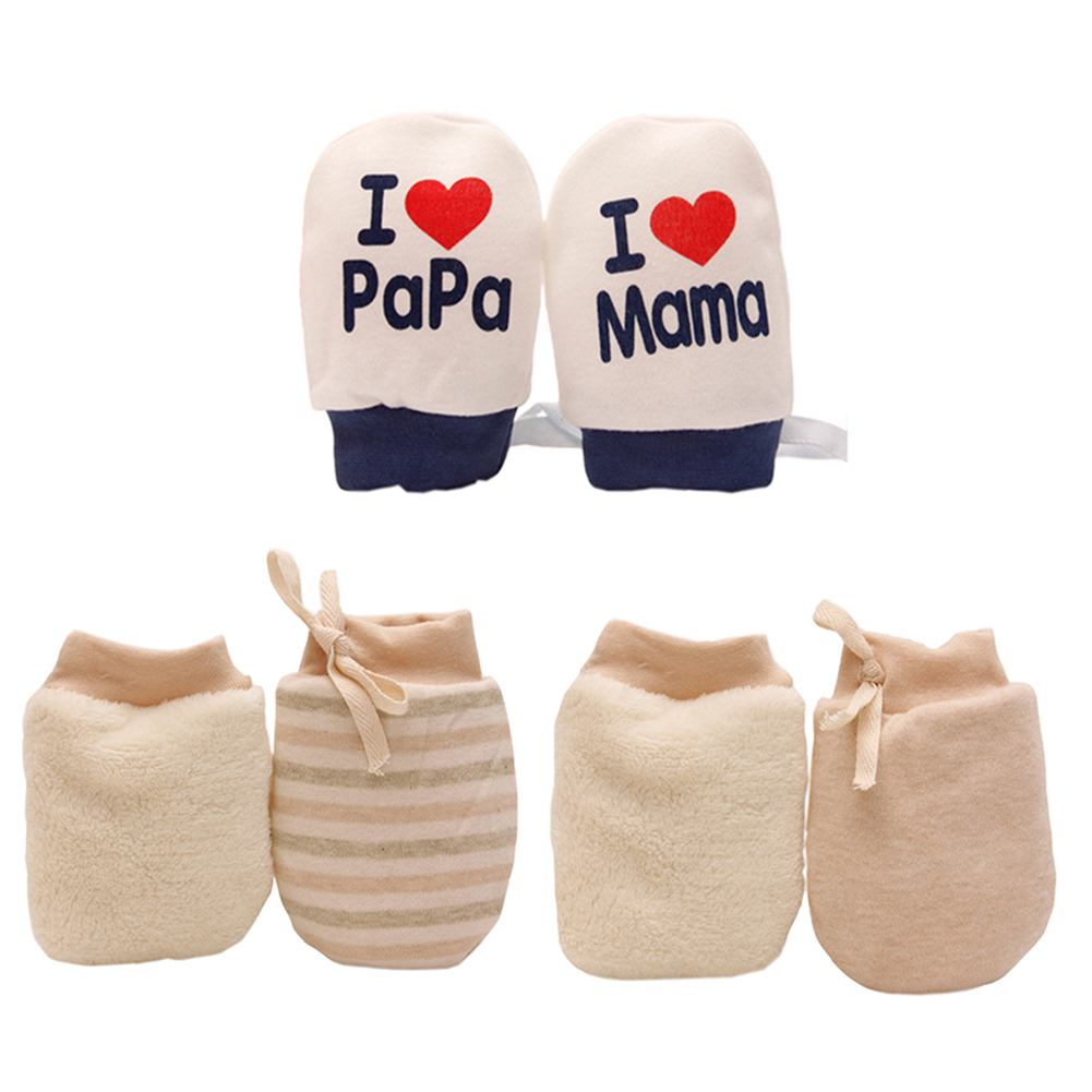 1 Pair Adjustable Drawstring Newborn Baby Cotton Mittens Anti Scratch Gloves NEW