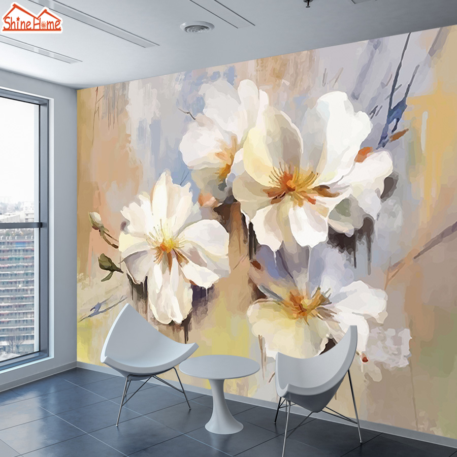 ShineHome-Modern Floral Blossom Painting Wallpaper 3d For Walls Wallpapers 3 D Living Room Hall Wall Paper Mural Rolls Home Art
