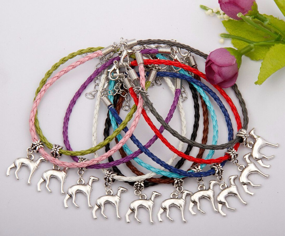 Hot 50Pcs/Lot Antique Silver Greyhound Charm Pendant Mixed Leather Rope Bracelet Women Jewelry Accessories Holiday Gifts F735