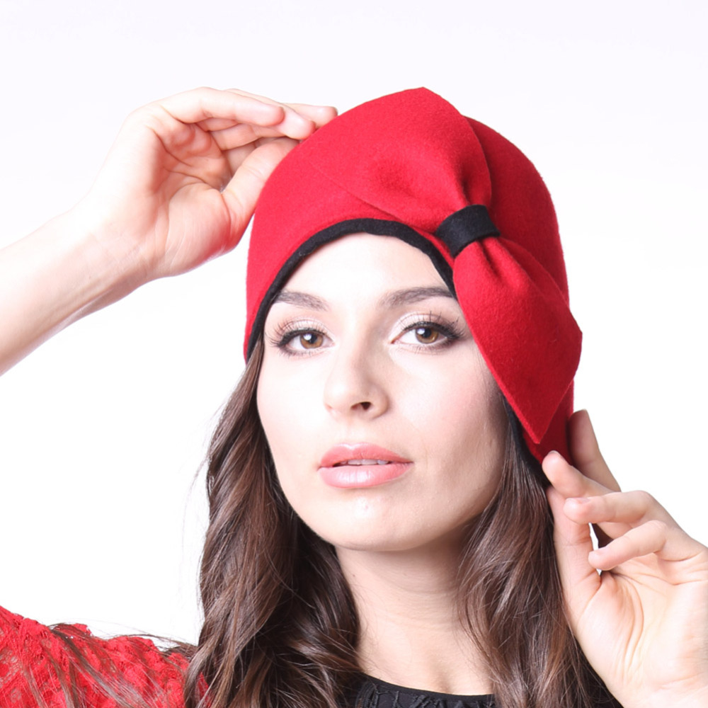Free Shipping Women Hats Winter Hats Felt Brimless 100 Wool Red With Bow