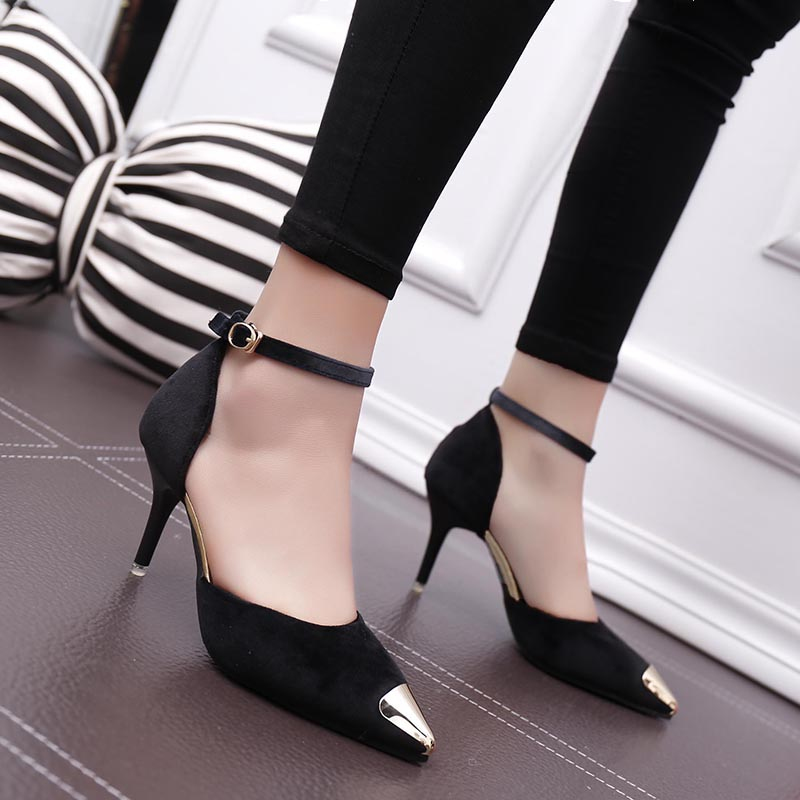 Lucyever 2017 Spring Summer Lady Flock Dress Pumps Sexy Women Fashion Buckle Metal Pointed Toe Thin High Heels Shoes Woman memunia flock pointed toe ladies summer high heels shoes fashion buckle color mixing women pumps elegant lady prom shoes