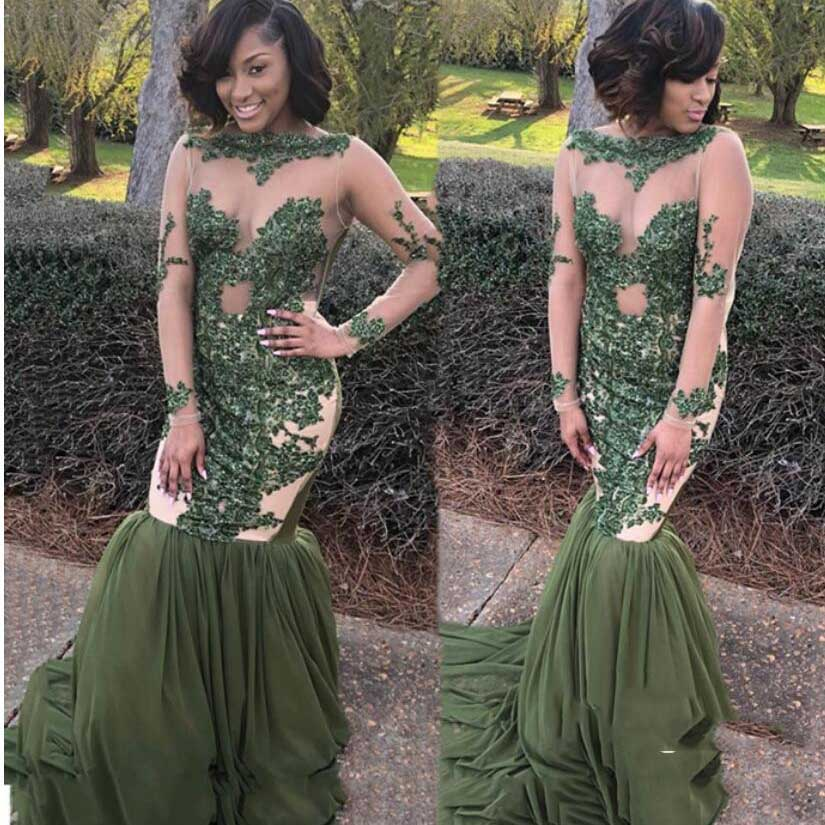 Illusion African   Evening   Gowns Olive Green abiye Appliques Lace Long Formal   Evening   Party   Dress   Gonna Sheer Neck Abendkleider