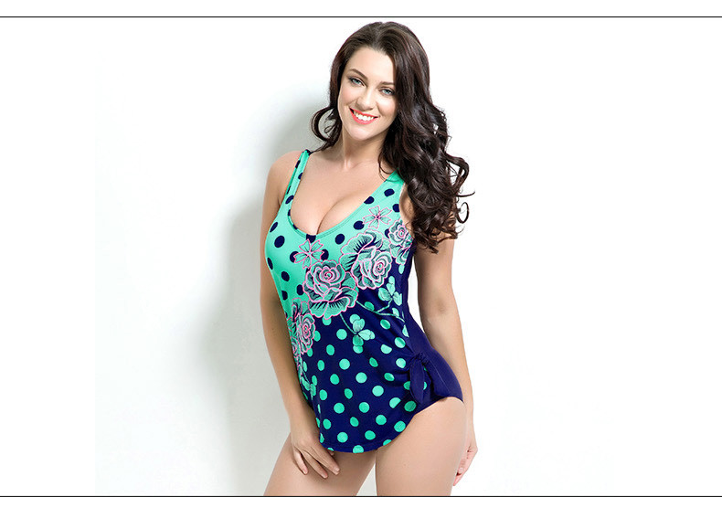 Latest ! Vintage Pad Swimwear Women Retro Plus Size One Piece Swimsuit Dress 4XL Floral Dot Backless Soft Bathing Suit F1692 18