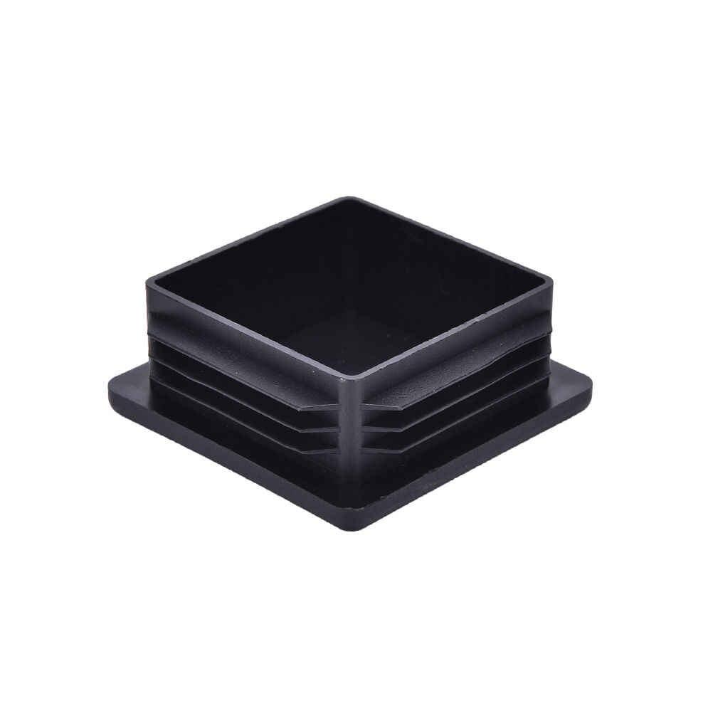 10Pcs Schwarz Kunststoff Stanzen End Kappen Quadratmeter Einsätze Für Rohr Rohr Box Abschnitt Großhandel