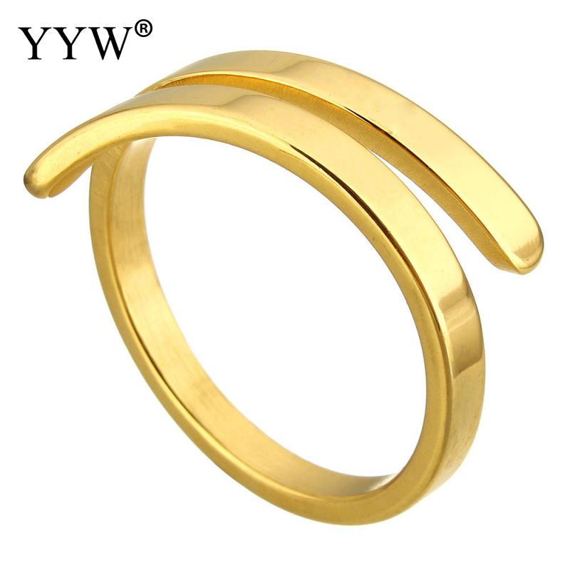 2017 Brand-new Simple Design Stainless Steel Open Finger Rings for Women Casual Daily Style 7mm Gold Color Plated Rings Jewelry