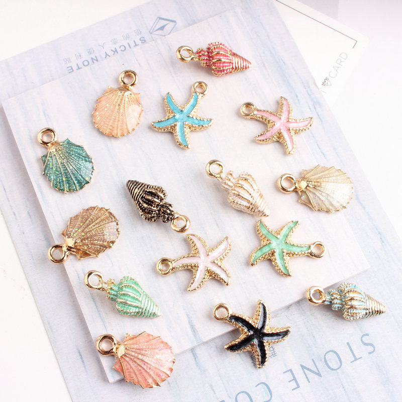 10pcs/lot Nautical Ocea Enamel Sea Starfish Shell Conch Hippocampus Charms Colorful Oil Drop Pendant for Jewelry accessories DIY