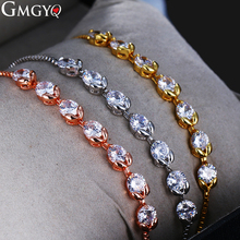 GMGYQ 2018 New Simple Cubic Zirconia Adjustable Bracelet Female Holiday Gift Crystal Jewelry Wedding Bridesmaid Accessories