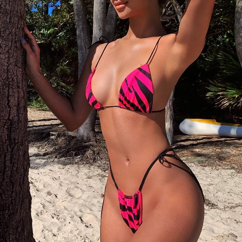 HTB1EViZa8Cw3KVjSZFlq6AJkFXaO Brazilian bikini thong Micro print bikini Neon swimwear women 2019 bathers Push up 3 piece swimsuit female string bathing suit