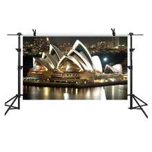 5x3Ft Night View of Sydney Opera House Backdrop Australia Landmark White Sails  Landscape Background Video Studio Shoot HXME133