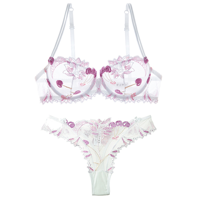 Embroidered mesh yarn ultra-thin sexy allure hollowed-out sponge bra bra set t-pant women 2