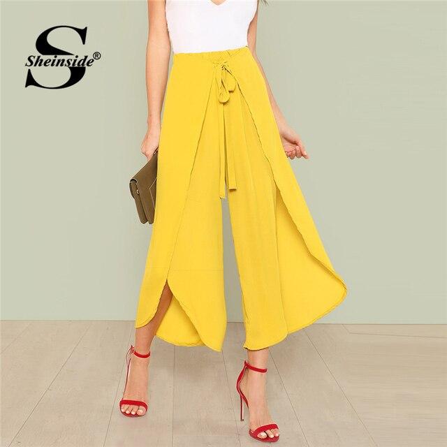 Sheinside галстук талии Обёрточная бумага брюки желтый эластичный пояс Flare нога узел укороченные брюки Для женщин летние Высокая Талия отпуск брюки