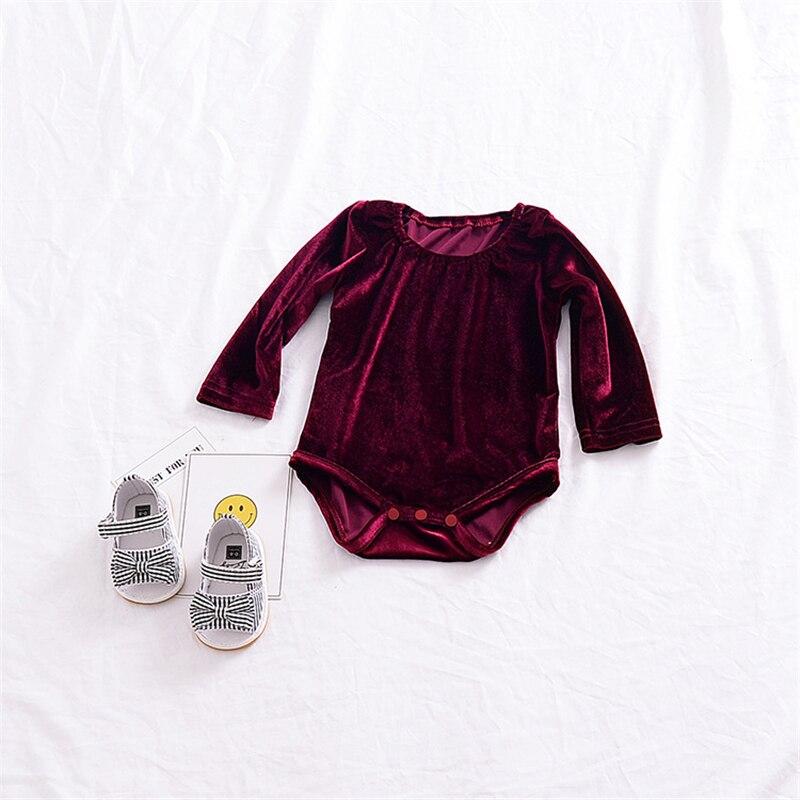 2018 Kid Velvet Long Sleeve Baby Girl Onesie Baby Bubble Baby Girl Bodysuits Newborn Onesie Spring Autumn ChildrenS Outfits