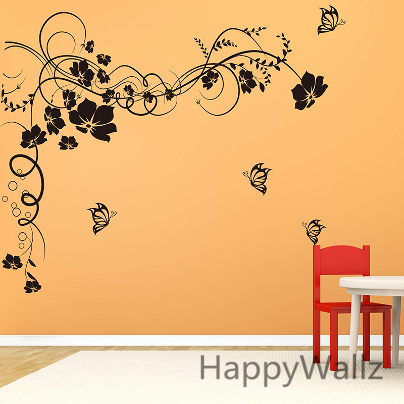Aliexpress.com : Buy Large Flower Wall Sticker 3D Flower Butterfly Wall  Decal DIY Vinyl Flower Wall Decors Flower Wallpaper F10 From Reliable Butterfly  Wall ... Part 49
