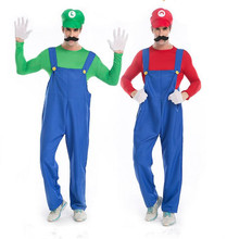 Super Mario Costume Men Adult Luigi Brothers Halloween Cosplay Costume Plumber Fancy Clothes Cartoon Red Green  Costume Set