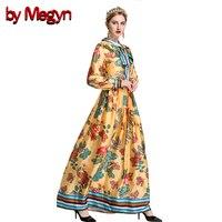 По megyn старинные платья 2017 женщин взлетно-посадочной полосы длинное платье плюс размер XXL Длинные рукава принт лук галстук длинные платья ...