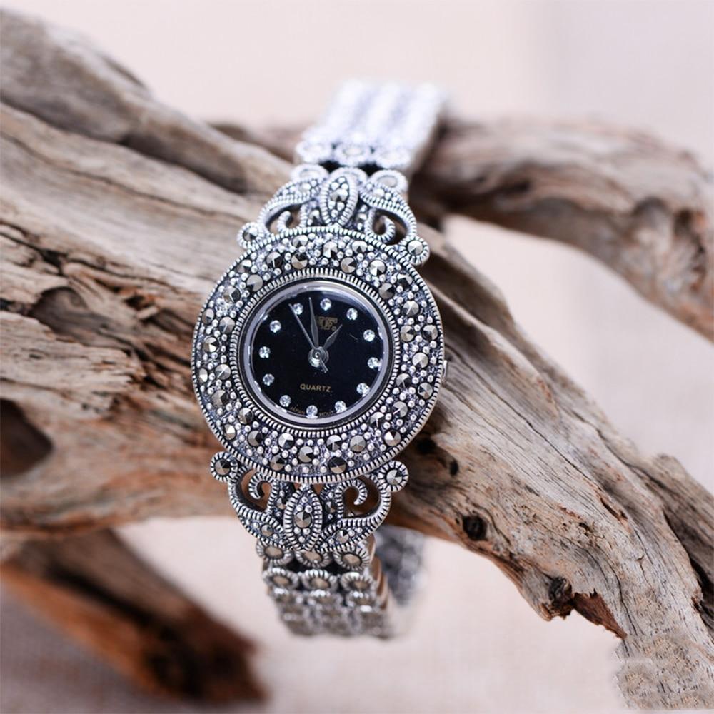 MetJakt Handmade Woven Thai Silver Zircon Bracelet Watch Solid 925 Sterling Silver Bracelet for Women's Quartz Watch