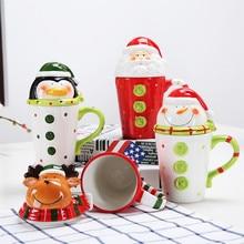 3D Christmas Cups Ceramic Tea Mugs Santa Water Cups with Lid Coffee Milk Cup Cute Cartoon Breakfast Drinkware Creative Gifts