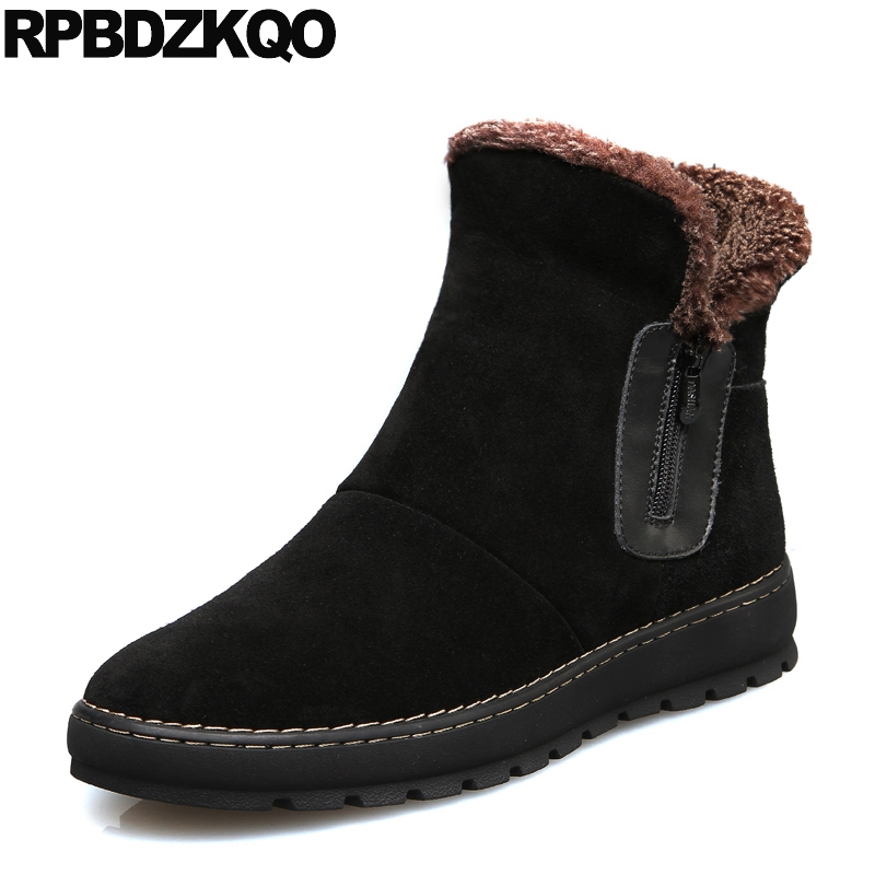 British Style Short Fur Lined Snowboot Suede Shoes Ankle Faux Black 2018 High Top Zipper Booties Mens Winter Boots Warm Flat faux fur lined flat ankle boots