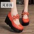 Black Ornage Green Apricot Cowhide Square Toe Heavy-bottomed Slope Heels 2016 New Fashion Discount Sale Women Wedges Shoes