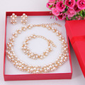 2017 New Fashion Imitation Pearl African Beads Costume Acessories Necklace  Gold Plated Bridal Wedding Jewelry choker necklace
