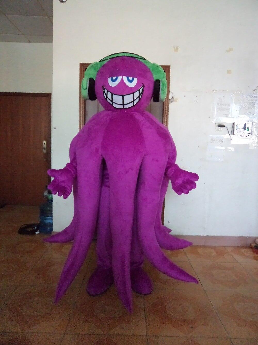 Горячие продаж высокое качество Забавный фиолетовый Осьминог талисмана платье Бесплатная доставка