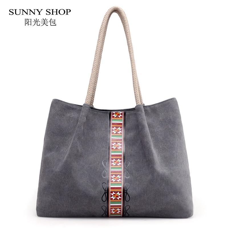 Vintage Large Tote Bag Women Cansual Big Sling Bag National Boho Canvas Handbag Work Business Shopper Bag 2018 High Quality tote bags for work