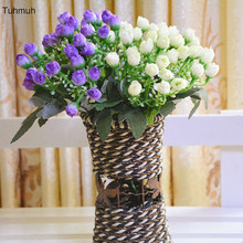 цена на 16cm Height Silk Artificial Small Rose Flowers Branch 36 Heads Fake flower Home Vase Bunch Decoration Wedding Bouquet 16pcs
